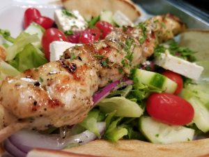 Greek Salad with Chicken Souvlaki