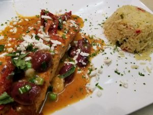 Greek Style Salmon with-Rice
